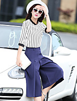Women's Striped White/Black Blouse , Round Neck ½ Length Sleeve