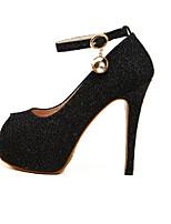 Women's Shoes Tulle Stiletto Heel Heels/Peep Toe Pumps/Heels Office & Career/Casual Black/Silver