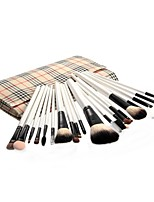 20pcs Makeup Brushes set Goat Hair Professional Powder/Foundation/Concealer/Blush brush Shadow/Eyeliner/Lip/Brow/Lash Brush Beige Plaid Pouch Bag Case