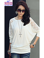 Women's Solid/Lace White/Black Blouse , Round Neck Long Sleeve