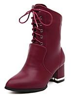 Damenschuhe - Stiefel - Lässig - Kunststoff - Blockabsatz - Stile - Schwarz / Burgund