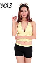 Women's Wireless/Padded Bras High Rise/Floral/Dot Halter Tankinis (Nylon/Polyester)