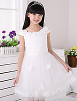 Girl's Summer Sleeveless Flowers Wedding Party Dresses (Cotton Blends)