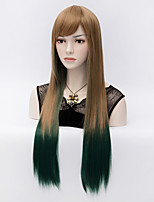 The Original SuFeng Brown Gradient Green Face Long Straight Hair Wig