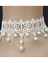 Women's Wedding/Party Fashion Lace Tassel Necklace With Pearl
