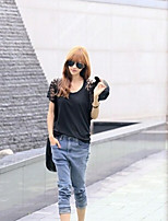 Women's Solid Black T-shirt , Round Neck Short Sleeve Lace