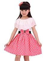 Summer Girl's Chiffon Lotus Leaf Collar Butterfly Belt Dots Skirt Princess Party Dresses (Chiffon/Cotton Blends)