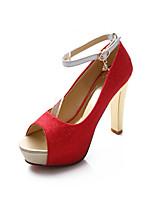 Chaussures Femme Similicuir Talon Aiguille Talons/Bout Ouvert Escarpins / Talons Mariage/Habillé/Soirée & Evénement Bleu/Rose/Rouge/Argent