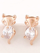 Women's Exquisite Fashion Sweet Little Fox Alloy Stud Earrings With Rhinestone