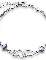 925 sterling silver Women's Double Heart Print bracelet