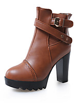 Women's Shoes Chunky Heel Platform/Fashion Boots Boots Dress/Casual Black/Brown/Red