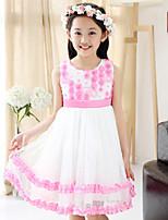 Girl's Summer Three-D Flowers Stitching Sleeveless Dresses (Cotton Blends/Mesh)