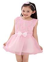 Girls Summer Flower Lace Sleeveless Tutu Dress Kids Bow Pleated Dresses (Chiffon/Cotton Blends)