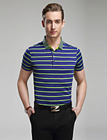 Men's Short Sleeve Polo , Cotton Casual/Plus Sizes Striped