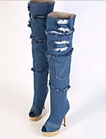 Women's Shoes Denim Stiletto Heel Heels/Peep Toe Boots Casual Blue
