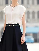 Women's White/Black Blouse Sleeveless