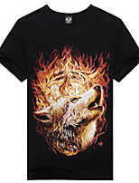 Men's 3D Fire Wolf Lycra Cotton T-Shirt  Fashion&Casual 3D Vivid Printing Short Sleeve Black  with O-Neck and Yellow