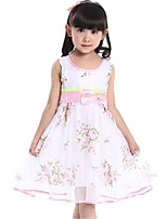 Girl's Summer Flower Printing Sleeveless Bow Gauze Princess Wedding Party Dresses (Cotton Blends)