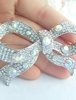 Wedding Accessories Silver-tone AB Clear Rhinestone Crystal Bridal Brooch Wedding Deco Bowknot Brooch Bouquet