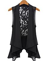 Women's White/Black Blouse Sleeveless Lace