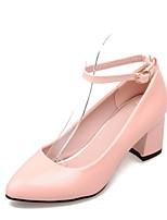 Women's Shoes Patent Leather Chunky Heel Heels/Pointed Toe Pumps/Heels Dress Black/Pink/Purple/White/Beige