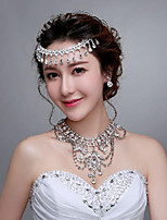 Sweety Rhinestones Titanium Jewelry Sets/Necklace with Earrings with Head piece