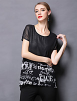 2015 summer new sexy club short sleeved shirt loose thin T-shirt printing letters Women's CLOTHING STYLE