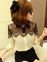 Women's Casual Inelastic Long Sleeve Regular Shirt (Lace)