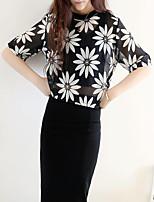 Women's Print Black Blouse , Round Neck Short Sleeve