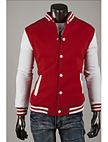 Men's Casual/Work Pure Long Sleeve Regular Jacket (Cotton Blends)