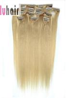20inch (50cm) 8 stuks 100 gram clip in op echte remy human hair extensions kleur # 24