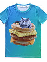 European Style TEE Digital Printing 3D T-shirt Hambergur Kitten Harajuku Sleeved T-shirt