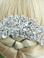 Wedding Hair Accessories Silver-tone Clear Rhinestone Crystal Bridal Hair Comb Bridal Headpiece Flower Hair Comb