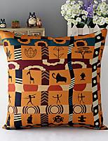 géométrique motifs coton / lin de style afrique taie d'oreiller décoratif
