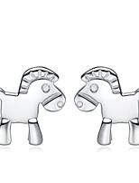Jazlyn Authentic Platinum Plated 925 Sterling Lovely Little Horse Silver  Stud Earrings