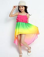 Girl's Summer Fashion Irregular Hem Chiffon Harness Dress