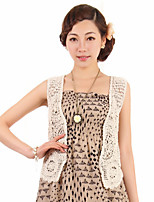 Women's Solid Beige Shrug , Casual Sleeveless Hollow Out
