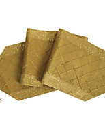 Delxue Pintuck Patchwork Sparkle Table Runne-Gold