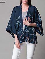 Women's Casual/Print Micro-elastic ¾ Sleeve Flare Sleeve Fashion Shirt (Cotton Blends)