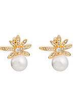 Women's Individuality Flowers Inlay Zircon Big Pearl Stud Earrings HJ0086