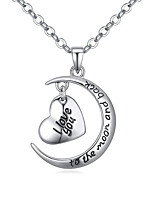 Women's European Style Heart Moon To the Moon and Back I Love You Necklace