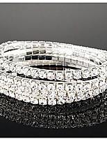 Simple Row Crystals Elastic Bracelet
