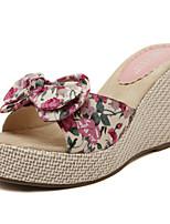 Chaussures Femme - Bureau & Travail / Habillé / Soirée & Evénement - Noir / Rose - Talon Compensé -Compensées / A Plateau / A Bride