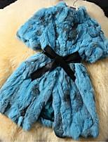 Collar short sleeve long hair fur coat
