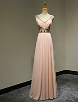 Formal Evening Dress - Pearl Pink Plus Sizes / Petite A-line V-neck Floor-length Chiffon