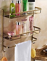 Bathroom Antique Brass Wall Mounted Double Layer Rectangle Soap Basket with Towel Bar and Hooks