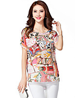 Women's Casual Micro Elastic Short Sleeve Regular Blouse (Linen)