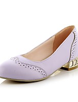 Women's Shoes Chunky Heel Heels/Round Toe Pumps/Heels Dress Black/Purple/Beige