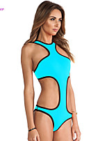 Women's Halter One-pieces , High Rise/Solid Push-up/Padded Bras/Underwire Bra Polyester/Spandex White/Red/Black