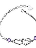 Popular Korean Heart Pure Silver Connected Amethyst Bracelets